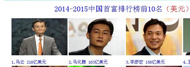 中国首富前三名2014